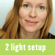 Blog posts with studio lighting setups and diagrams using two lights