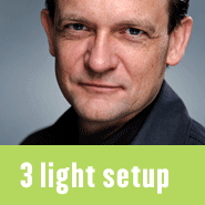 Blog posts with studio lighting setups and diagrams using three lights