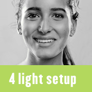 Blog posts with studio lighting setups and diagrams using four lights