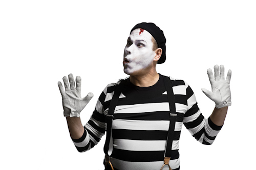 mime against invisible window