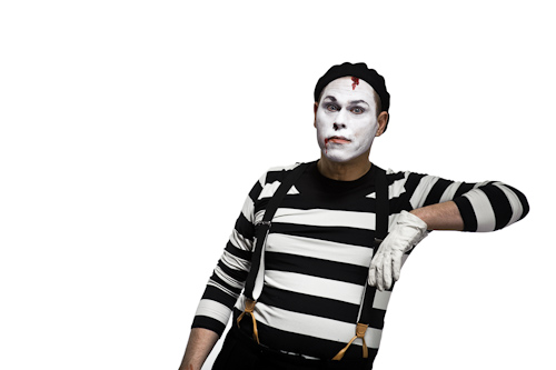 mime leaning on invisible support