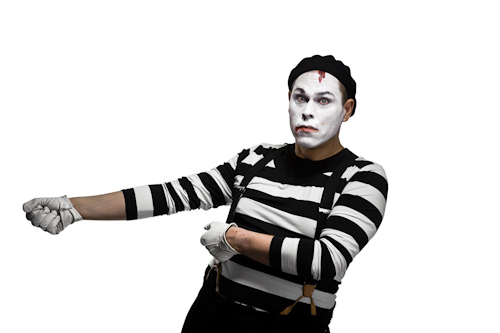 mime pulling invisible rope