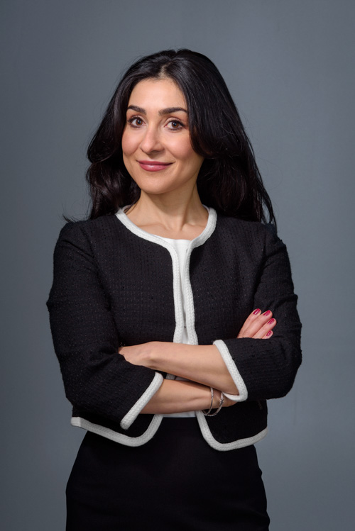 corporate-portrait-of-woman-using-two-lights-Profoto-Giant-180-strip-softbox-grid