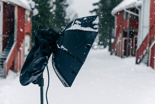 snow-protection-for-Profoto-B2-a-rain-cover-from-a-camera-backpack